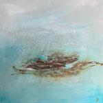 Island in the ocean, Acryl, Strukturmasse, Mischtechnik, 70 x 70 x 4 cm