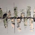 """Stadt am Fluss"" -  Acryl, Spachteltechnik, 70 x 140 x 4 cm"