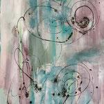 Die Verwicklung, 2017, Acryl, Strukturmasse, Beize, 90 x 70 x 4 cm