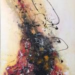 """""""Violine"""" -  Acryl, Strukturmasse, Beize, Schellack, 50 x 100 x 2 cm"""