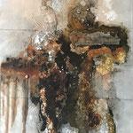 """""""Marktplatz der Meinungen"""" -  Acryl, Strukturmasse, Beize, Pigmente, 90 x 60 x 2 cm"""