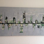 """Stadt am Fluss 2"" -  Acryl, Spachteltechnik, 70 x 140 x 4 cm"