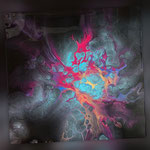 Universum III, Acryl, Resin, Pouring auf Holz, 25 x 25 x 4 cm
