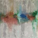 Sommerträume, 2015, Pigmente, Beize, Strukturmasse, Seidenpapier, 80 x 100 x 4 cm