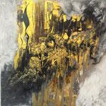"""""""Goldig"""" - Acryl, Beize, Facettenlack, 60 x 60 x 2 cm"""