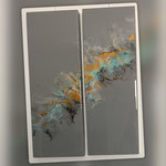 Ohne Titel, Acryl, Resin, Pouring auf Holzrahmen, 2 mal 25 x 70 x 4 cm