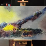 Insel, 2014, Acryl, Tusche, Marmormehl, 70 x 170 x 4 cm