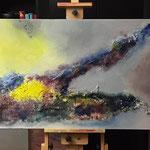 """Insel"" -  Acryl, Tusche, Marmormehl, 70 x 170 x 4 cm"