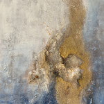 """Golden fantasy"" -  Acryl, Strukturmasse, Mischtechnik, 90 x70 x 4 cm"