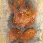 Herzschlag, 2015, Marmormehl, Pigmente, Beize, 90 x 60 x 4 cm
