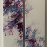 Ohne Titel, Acryl, Resin, Pouring auf Holz, 2 mal 15 x 60 x 4 cm