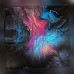 Universum II, Acryl, Resin, Pouring auf Holz, 25 x 25 x 4 cm