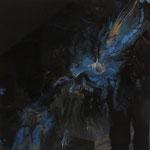"""Blue Star"", Acryl, Resin, Pouring auf Holz-Platte, 45 x 45 x 4 cm"