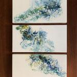 Ohne Titel, Acryl, Resin, Pouring auf MDF-Platten, 3 mal 20 x 40 x 3 cm