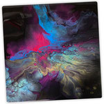 Universum I, Acryl, Resin, Pouring auf Holz, 25 x 25 x 4 cm