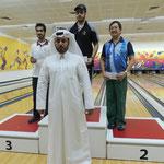 Winners received their cash prizes awarded by Mr. Bandar Al Shafi - Secretary General of the Qatar Bowling Federation