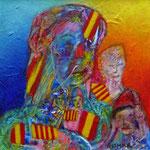 Battle of Flags in Catalonia,Spain. 6 x 6 cm