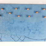 himmelblau/ sky blue, Glasmalstifte, Glas ca. 1 x 26,5 x 37 Schaumstoff, ca. 1 x 2,5 cm, 2000