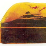 geschmolzen (vulkan)/ melted (volcano) Siebdruck auf Glas, silk-screenprint on glass, ca. 1 x 23 x 37 cm, 2000