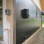 外壁の修理  ラワン材を張った外壁、下地を直し再塗装。奇麗に仕上がった。(施主工事)