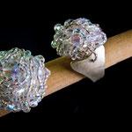 $25 dólares anillos con base de alpaca y mostacillas y piedras semi preciosas