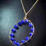 $50 dólares collar con cadena de gold filled y aretes con agatas azueles