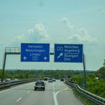 Abfahrt in Richtung Augsburg