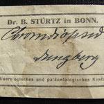 Etikett von nach 1919 aus dem Mineralien- und Fossilienhandel, Foto E. Klein