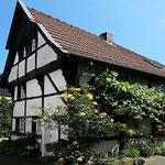 ein schiefes, altes Fachwerkhaus ins Warendorf