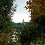 Blick übern See auf die Barockkirche von Birnau