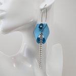 B.O. FORMIDABLE modèle 2 Cuir bleu azur, breloque demi-cercle bleu canard et chaine épis blanc