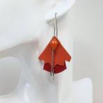 B.O. FORMIDABLE modèle n°5 Cuirs orange et rouge, breloque diamant orange