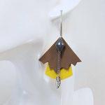 BO FORMIDABLE modèle n°5 Cuirs sépia et jaune, breloque diamant gris