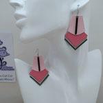 B.O. FORMIDABLE modèle 1 Breloque barre noire et cuir rose dragée/rose/gris clair/gris