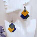B.O. FORMIDABLE modèle 6 Cuirs ocre/bleu marine/gris, breloque inox carrés entrelacés et diamant gris ou bleu cobalt