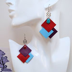 B.O. FORMIDABLE modèle 6 Cuirs rouge/bleu azur/améthyste, breloque inox carrés entrelacés et diamant turquoise ou rouge