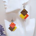 B.O. FORMIDABLE modèle 6 Cuirs sépia/jaune/orange, breloque inox carrés entrelacés et diamant taupe ou orange