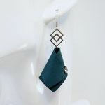 GAGNEES CONCOURS ! BO FORMIDABLE modèle n°4 cuir vert émeraude, breloque inox carrés entrelacés et carré diamant laiton noir