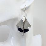B.O. FORMIDABLE modèle n°5 Cuirs gris clair et bleu nuit, breloque diamant blanc