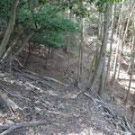 急な斜面に横一線にひっかいたような山道