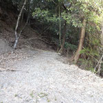 左の山肌に沿って下る道を進みます。
