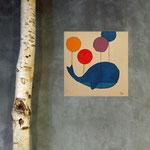 La balloun bleu, acrylique sur bois 15cm*15cm  - non disponible