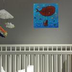 Baleine fière , acrylique sur bois 25cm*25cm  - non disponible