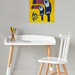 Les toucans, acrylique sur bois 25cm*25cm