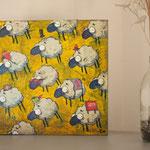 Moutons rebelles, acrylique sur bois 25cm*25cm