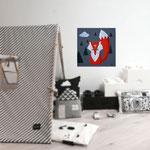 Foxy, acrylique sur bois 25cm*25cm