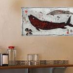 Fish2, acrylique sur toile écrue 40cm*20cm