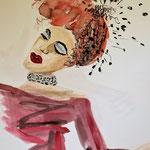 femme en rouge (    / 2017 / Aquarell)