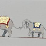 Elefantenparade - (41x22 / 2012 / Öl mit Blattgold 24 Karat) - Preis: € 290,-