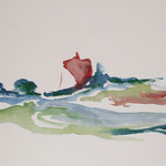 Landschaft mit Haus - (40x30 / 1998 / Aquarell)